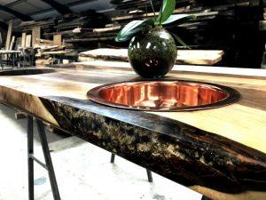 custom made bathroom countertop from Earthy Timber
