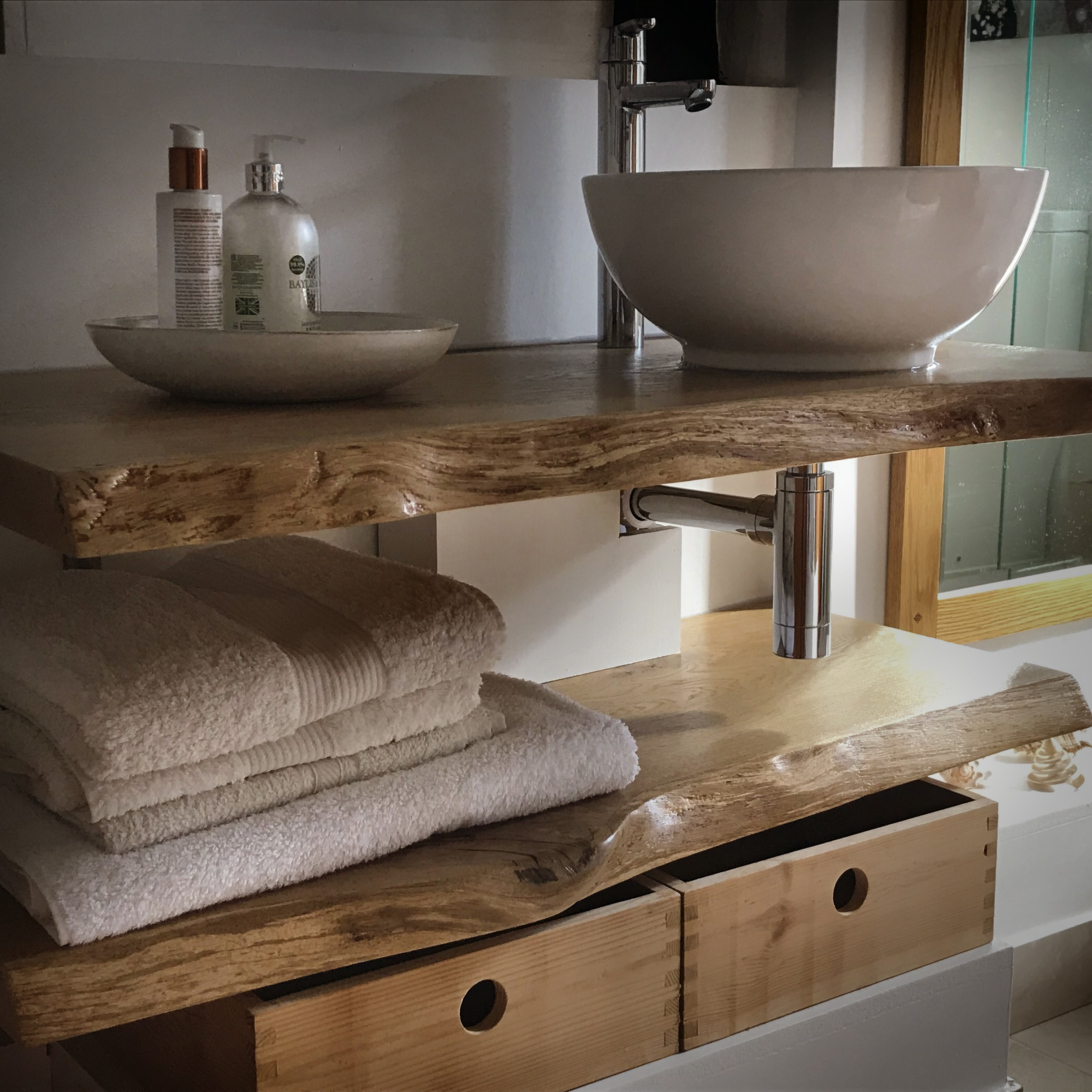 Bespoke Earthy Oak Slab Bathroom Tops