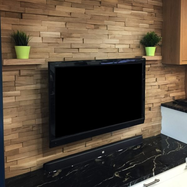 Beautiful oak brick feature wall installation in modern contemporary living room