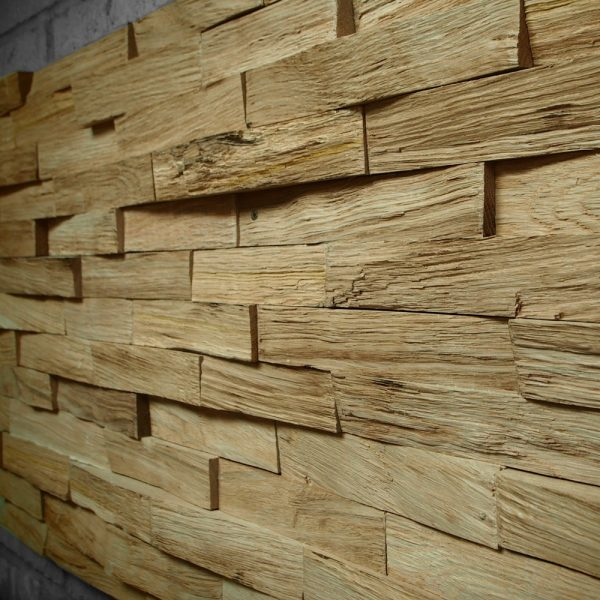 Beautiful unique earthy oak brick feature wall installation