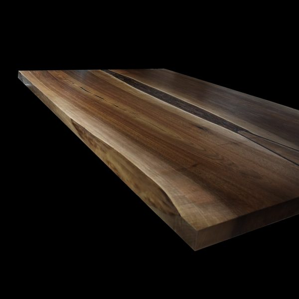 Beautiful straight edged wild walnut breakfast bar with resin infused edging bark preserved river effect