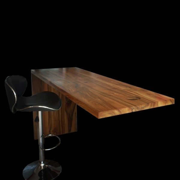 Bespoke polished wild walnut worktops with unique rustic resin infused features with modern contemporary stool