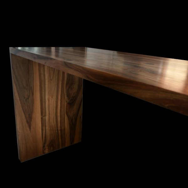 Beautiful earthy radiant warming wild walnut worktops with resin infused details and polished surface