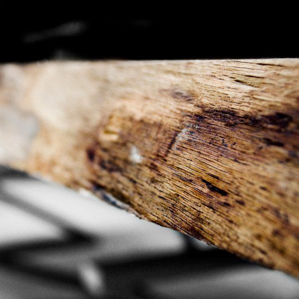 Stunning earthy waney edging detail of bespoke oak desk top