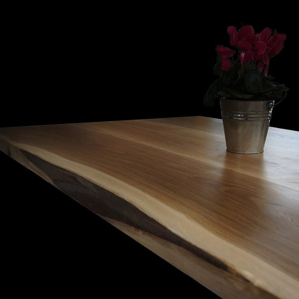 Beautiful oak table top with resin infilled edging and earthy grain detail