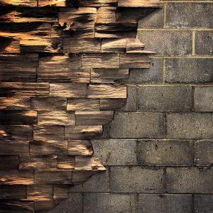 Beautiful unique earthy oak brick feature walls backlit