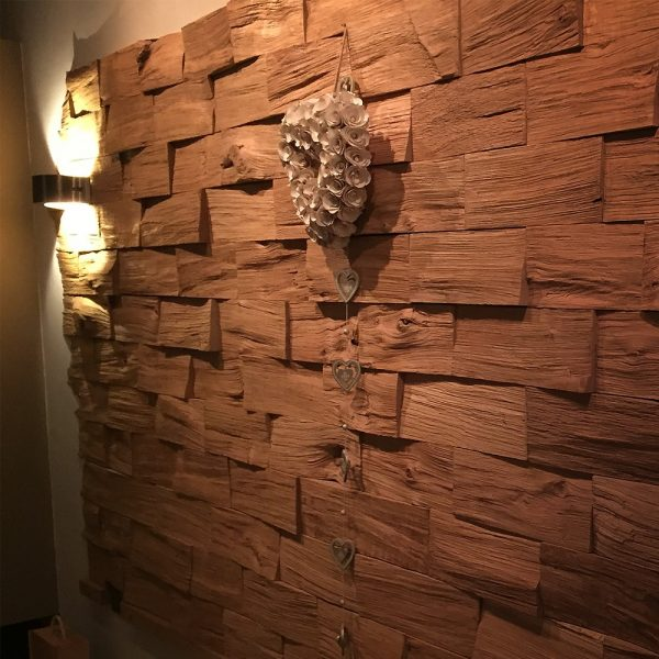 Modern contemporary oak brick feature walls backlit in modern home