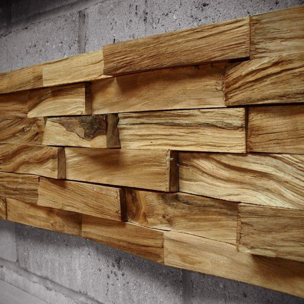 Bespoke wild walnut wooden brick feature wall installation