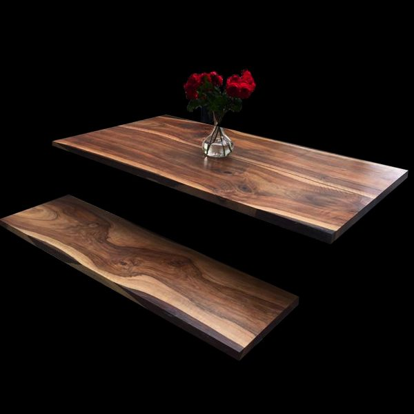 Beautiful English Walnut table top infused with epoxy resin with matching bench top and modern decor