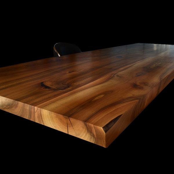 Modern contemporary wild walnut breakfast bar with straight edging and resin infused details