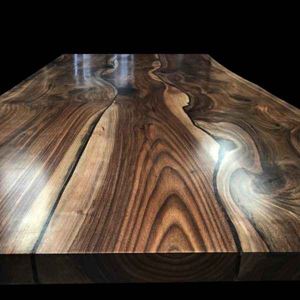 Stunning unique wild walnut kitchen sialnd top with earthy grain detail and resin infilled natural cracks