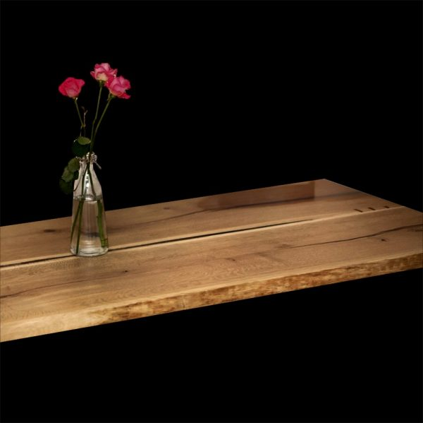 Beautiful organic river styled oak desk made from two live edged oak planks