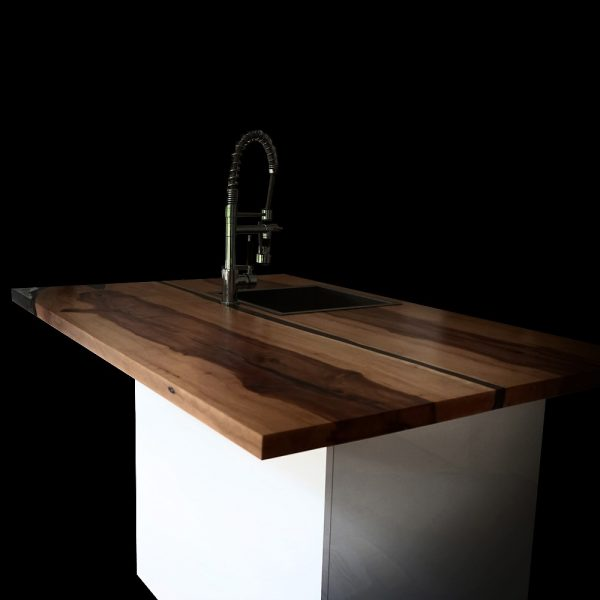 Beautiful custom sized hand-crafted kitchen island top made from English Walnut and infused with epoxy resin in modern contemporary styled kitchen