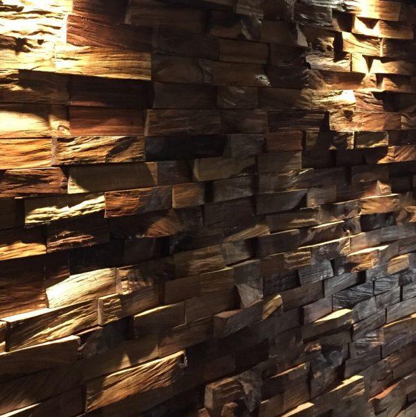 Hand-built beautiful bespoke earthy wild walnut brick feature wall backlit installation