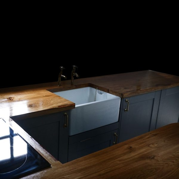 Bespoke solid wooden oak kitchen worktops with mixed edging in modern contemporary kitchen