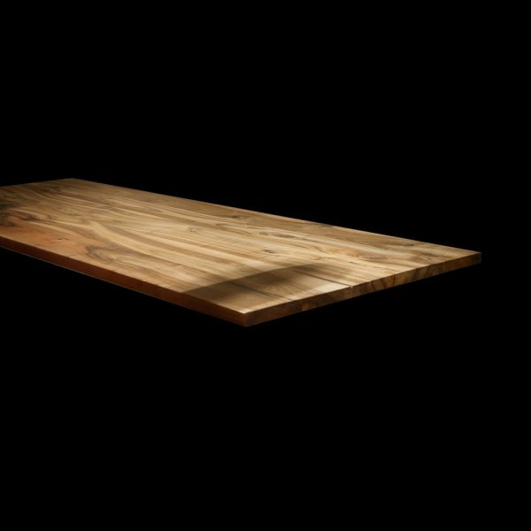 Modern & contemporary styled straight edged walnut desk table top with resin infused cracks, knots and straitions