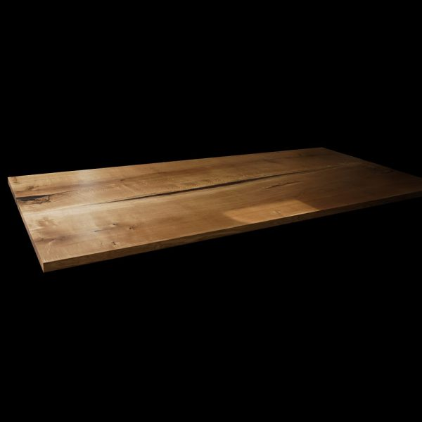 Rustic oak desk top with modern contemporary straight edging and resin infused knots, cracks and striations