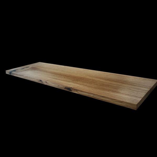Bespoke resin infused knots, cracks and striations of beautiful oak straight edged modern contemporary bench top