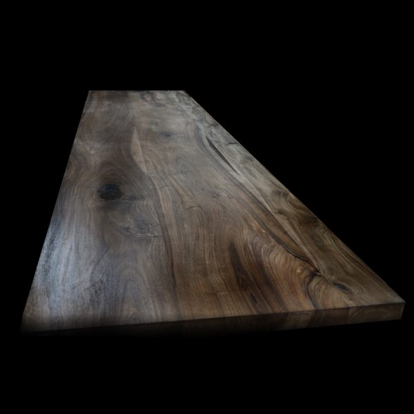 Gorgeous stunning resin infused wild walnut bench top with straight square edging