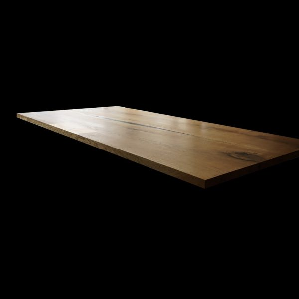 Unique and interesting oak desk top with modern straight edging and resin infused knots, cracks and straitions