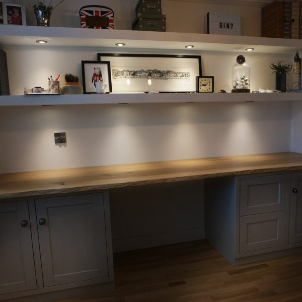 Modern contemporary home office space with stunning live edged oak desk top