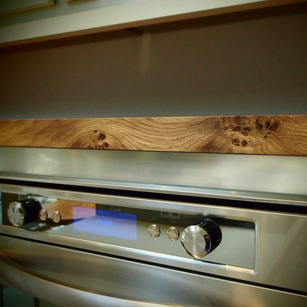 Bespoke earthy straight edged oak cabinet top