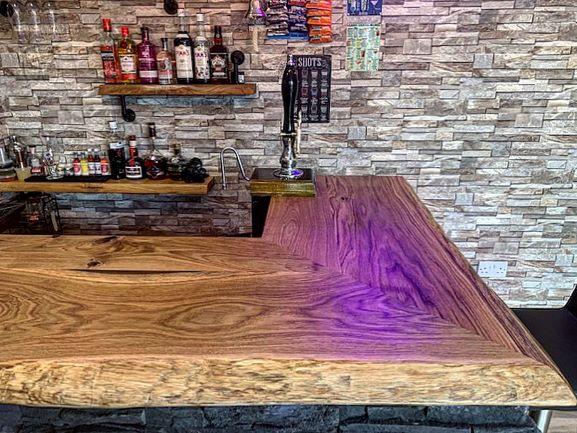 live edge oak home bar by Earthy Timber