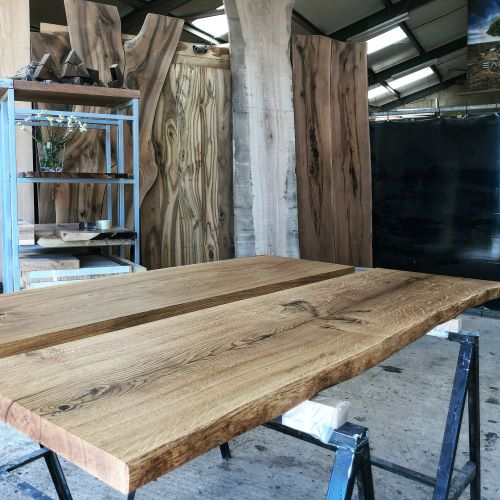 live edge oak resin shelves by Earthy Timber
