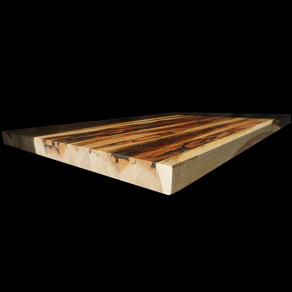 Unique edging of beautiful modern contemporary wooden bar top with resin infusion