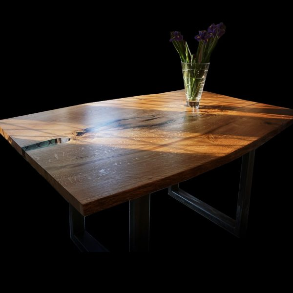 Oak Table With U-Shaped Legs