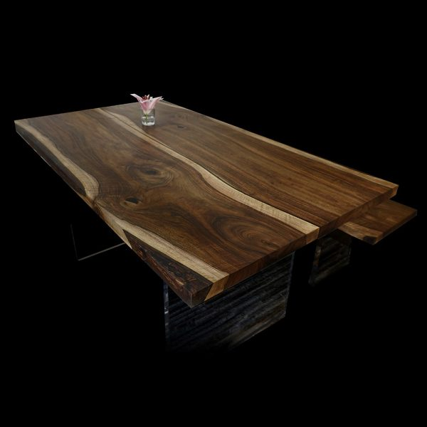 Beautiful unique wild walnut table top with bespoke earthy grains, resin infilled details and acrylic legs