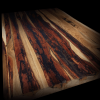 Beautiful earthy wooden bar top made from offcut strips of earthy English hardwood
