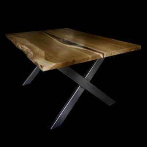 ~Hand-crafted rustic oak table top with live edges and resin infilled river effecty through the centre with steel x-shaped legs