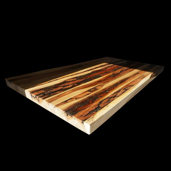 Beautiful wooden bar top with strips of reclaimed english hardwood and resin