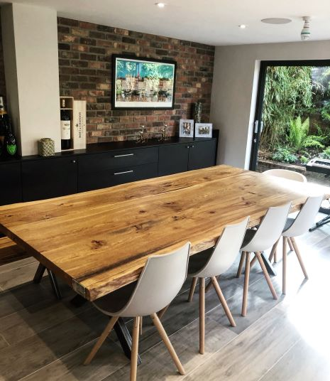 live edge oak slab table by Earthy Timber