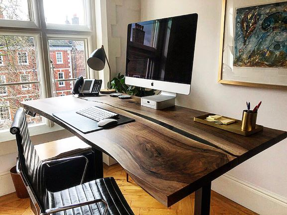 live edge walnut river desk by Earthy Timber
