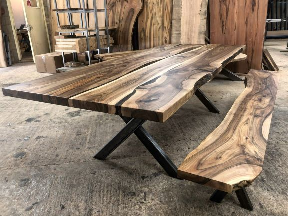 live edge walnut tables by Earthy Timber UK