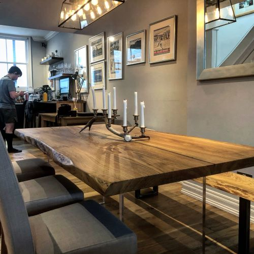 natural edge oak dining table by Earthy Timber UK