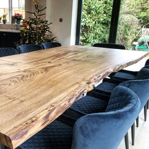 natural wood dining table by Earthy Timber