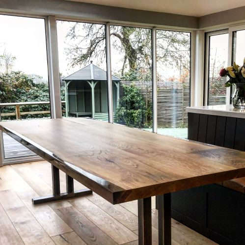 resin wood dining table EARTHY TIMBER UK