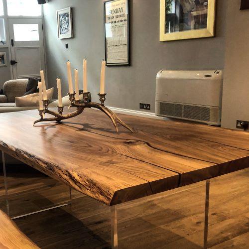 oak slab table by Earthy Timber