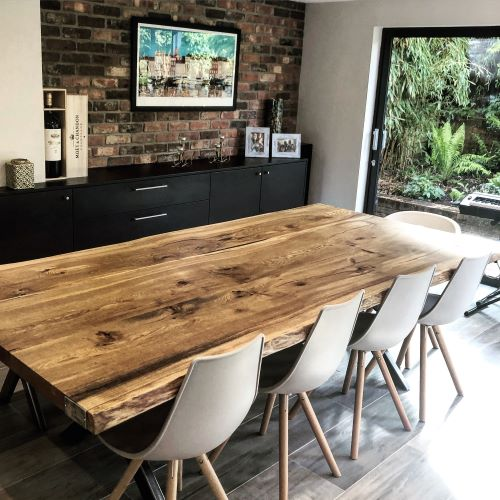 rustic oak dining table top by Earthy Timber