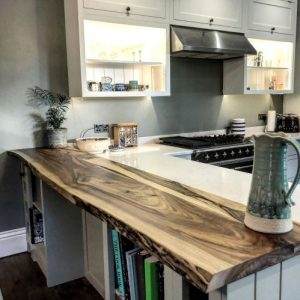 walnut breakfast bar by Earthy Timber