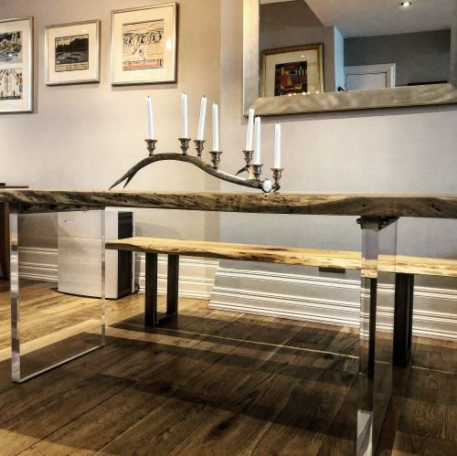 waney edge oak slab table by earthy timber