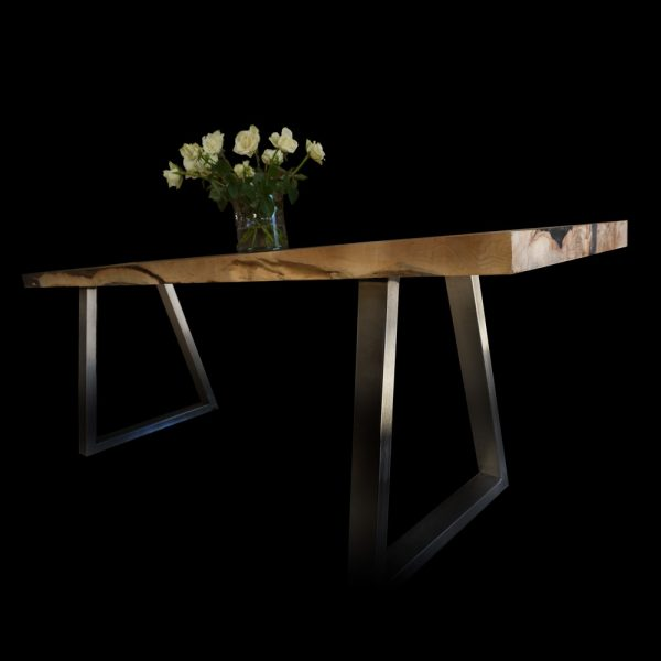Beautiful bespoke earthy sycamore desk top with modern steel trapezium shaped legs