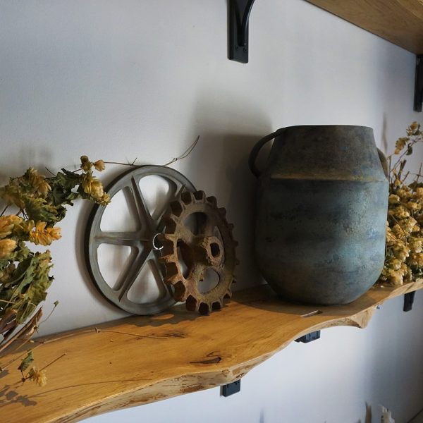 Beautiful bespoke solid wooden shelves with unique live edging and rustic styled decor
