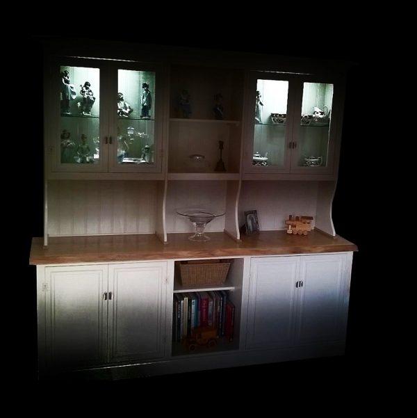 Bespoke live edged earthy oak cabinet top on rustic styled cupboard units
