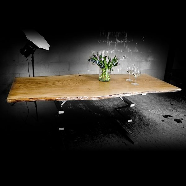 Bespoke waney edged rustic oak desk table top with custom zig-zag shaped legs