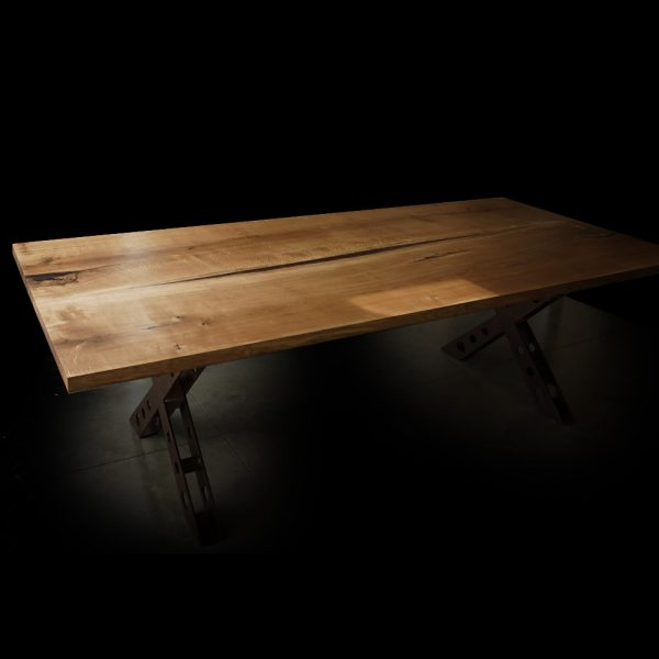 Modern & contemporary large oak desk top with straight edges, resin infused details, river effect and industrial steel legs