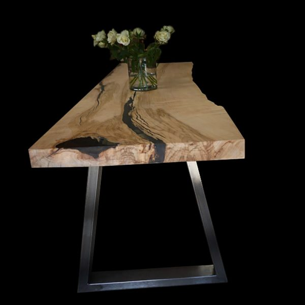 Beautiful unique earthy oak table top marbled with epoxy resin to create smooth organic lines of natural beauty